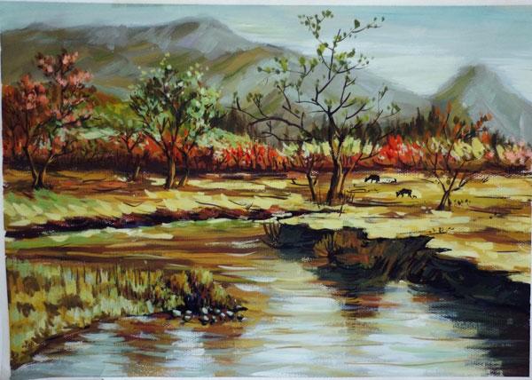 色彩风景作品-田园风光_罗丹美术教育_德彦艺术教育图片